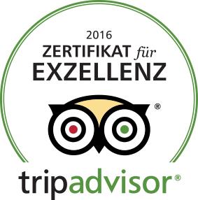 Tripadvisor - Zertifikat für EXCELLENZ erhalten