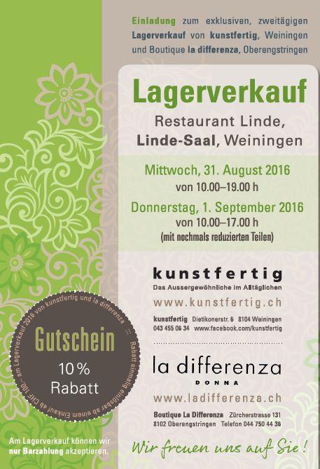 """Lagerverkauf """"Kunstfertig"""" und """"Boutique La Differenza"""""""