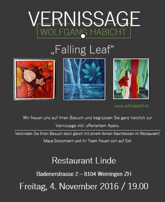 """Vernissage """"Falling Leaf"""": Freitag, 4. November 2016"""