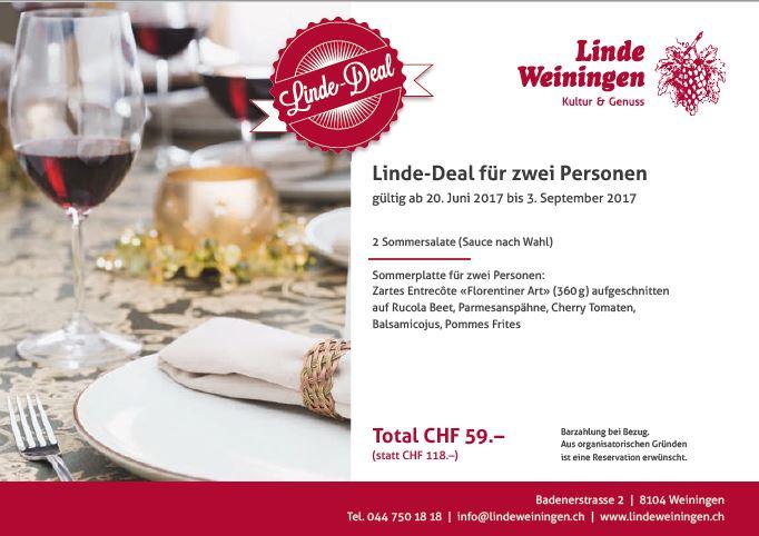 Linde-Deal (59.00 anstelle 118.00 für zwei Personen)